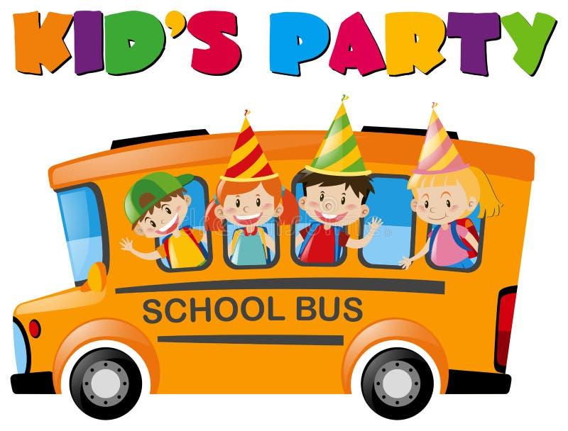 Dzieciaki z partyjnymi kapeluszami na autobusie ilustracja wektor
