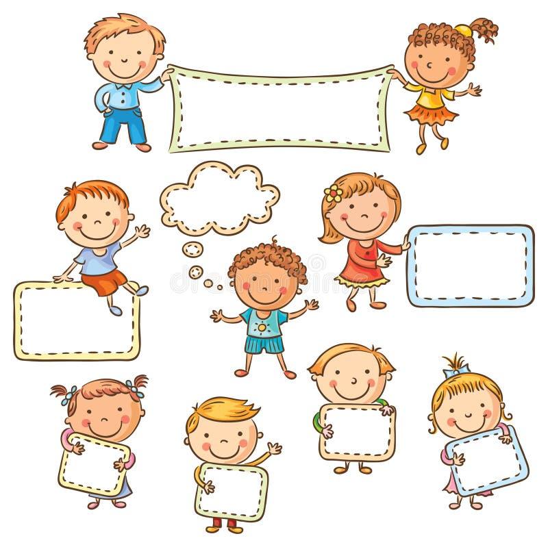 Dzieciaki z pustymi znakami ilustracja wektor