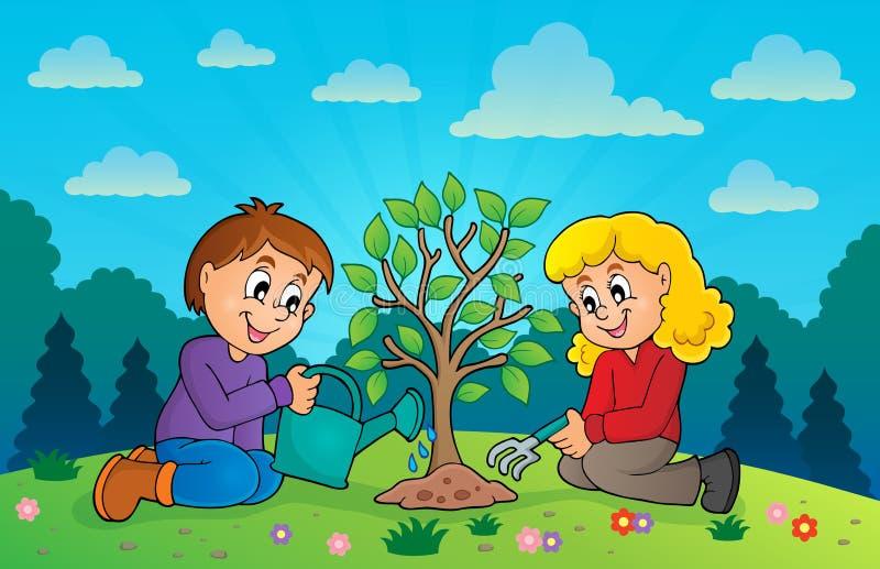 Dzieciaki zasadza drzewnego tematu wizerunek 3 ilustracja wektor