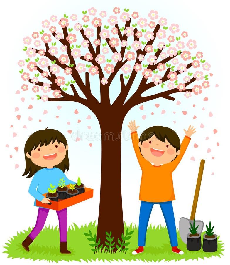 Dzieciaki zasadza saplings pod kwitnącym drzewem royalty ilustracja