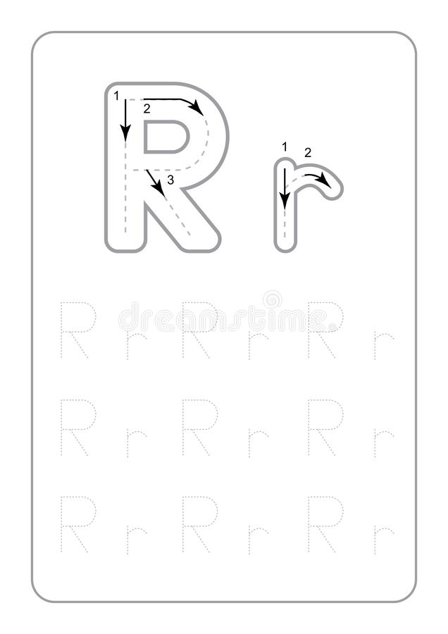 Dziecina kalkowania list?w Worksheets monochromatyczny kalkowanie Pisze list Worksheets na bia?ym t?o wektorze royalty ilustracja