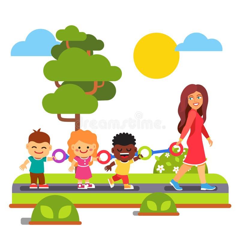 Dziecina nauczyciela odprowadzenie z dzieciakami outdoors ilustracji