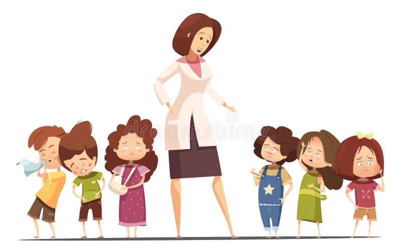 Dziecina Posoning sytuaci kreskówki Karmowy plakat ilustracji