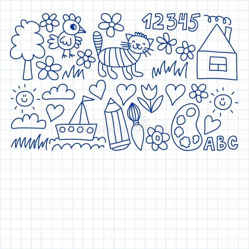 Dziecina wz?r, rysuj?cy dzieciak?w ogrodowi elementy deseniuje, doodle rysunek, wektorowa ilustracja, monochrom, czer?, b??kitny ilustracji