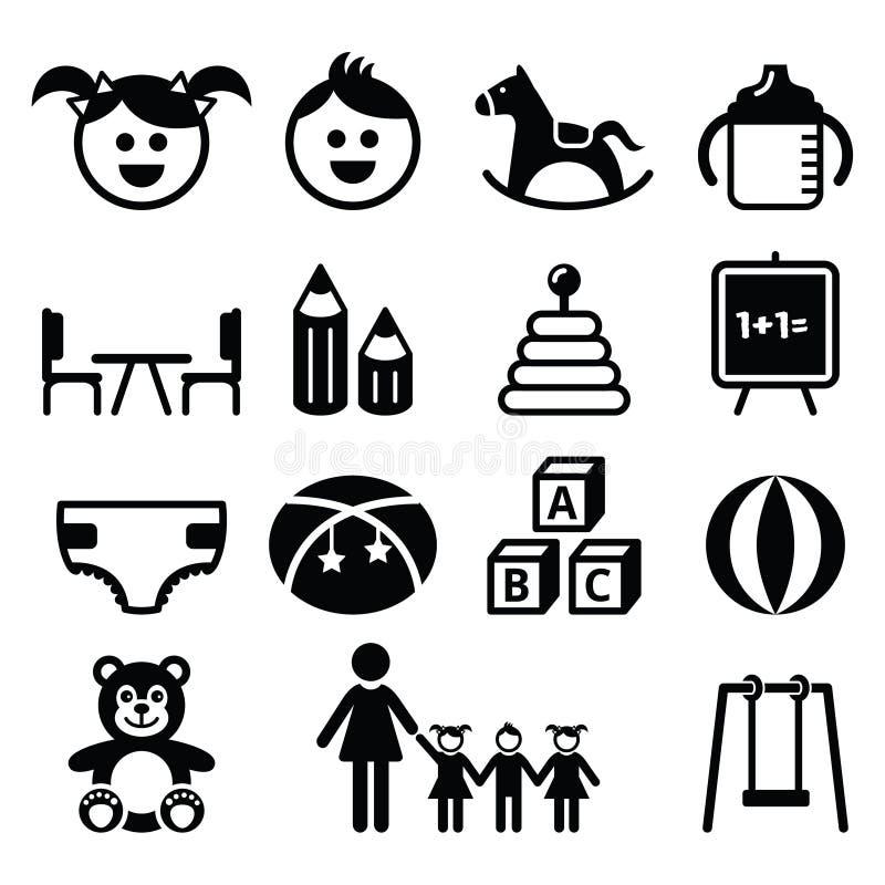 Dzieciniec, pepiniera, preschool ikony ustawiać ilustracji