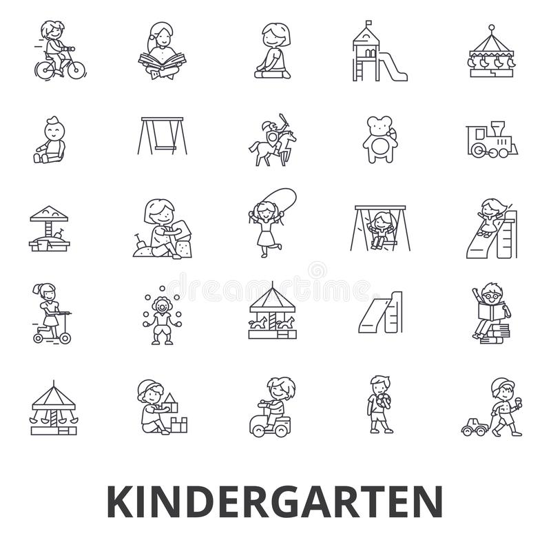 Dzieciniec, preschool, nauczyciel, pepiniera, boisko, daycare, dzieciaki bawić się kreskowe ikony Editable uderzenia Płaski proje ilustracja wektor