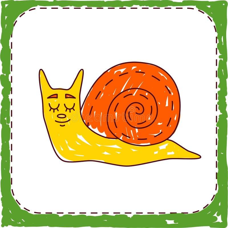 Dziecinna barwiona ślimaczka zwierzęcia ikona ilustracja wektor