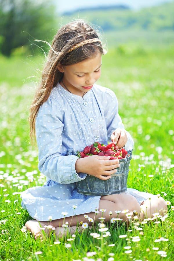 Dziecka łasowania truskawki w polu zdjęcie stock