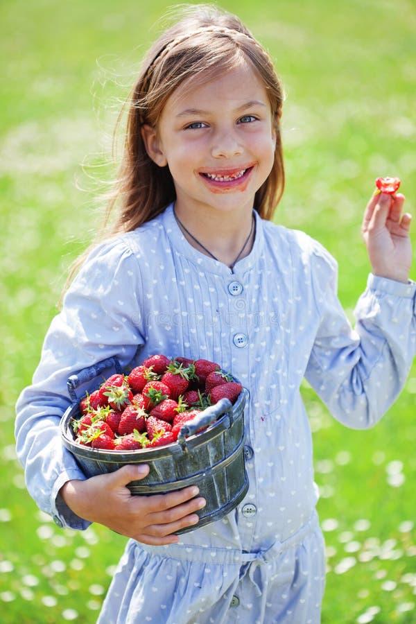 Dziecka łasowania truskawki w polu fotografia royalty free