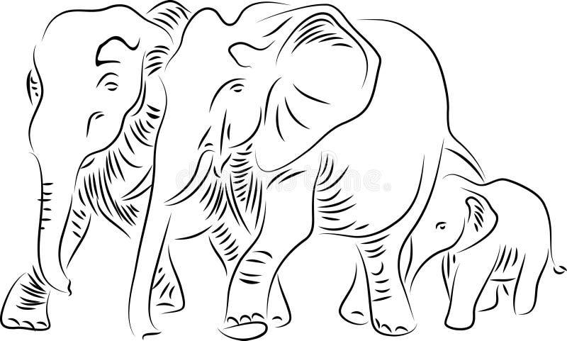 dziecka łydkowa kokosowa słonia rodziny matka blisko palmowego trzonu ilustracja wektor