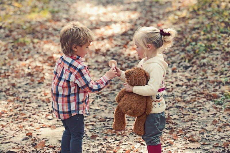 Dziecka żniwo ono rozrasta się w jesieni dziewczyny i chłopiec lasowych przyjaciołach obozuje w drewnach Organicznie i Zdrowy jed obraz stock