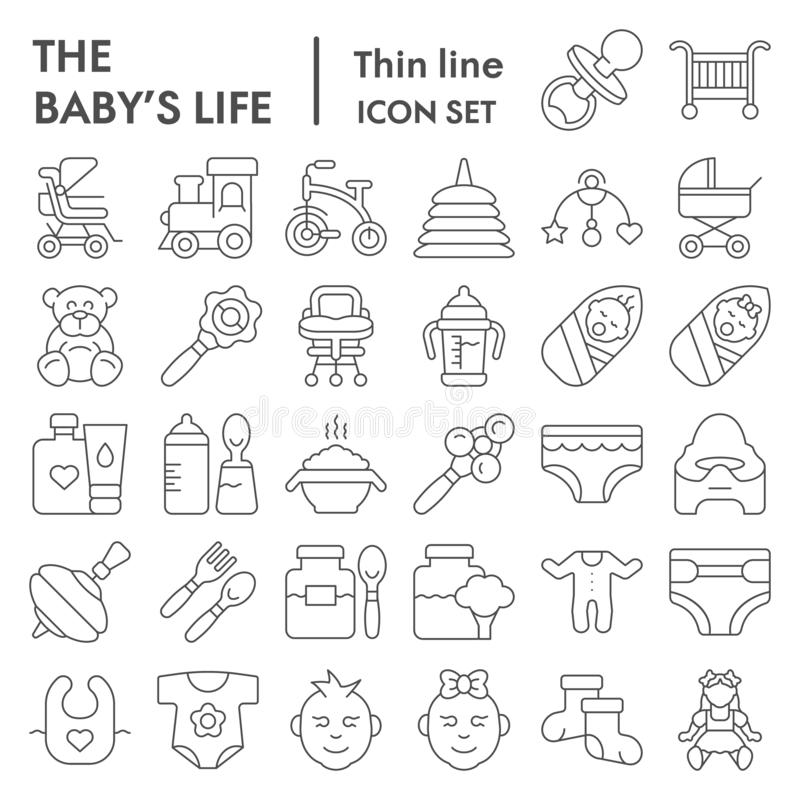 Dziecka życia ikony cienki kreskowy set, nowonarodzeni symbole kolekcja, wektor kreśli, logo ilustracje, dzieciaków znaki liniowi ilustracja wektor