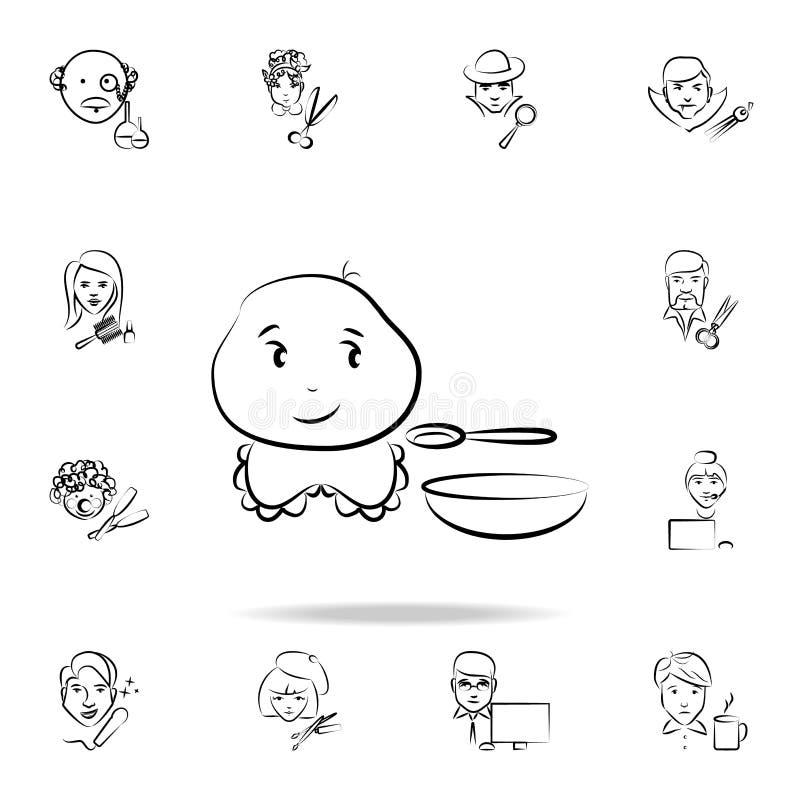 dziecka avatar nakreślenia stylu ikona Szczegółowy set zawód w nakreślenie stylu ikonach Premia graficzny projekt Jeden kolekcja ilustracji
