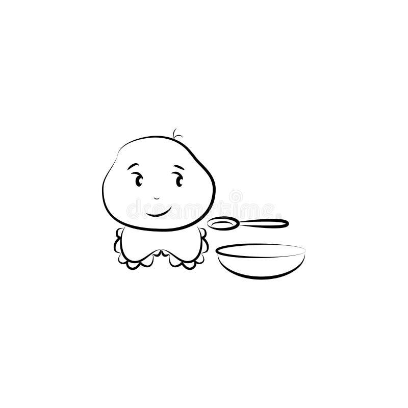 dziecka avatar nakreślenia stylu ilustracja Element zawody dla mobilnych pojęcia i sieci apps ilustracyjnych Ilustracja dla websi ilustracja wektor