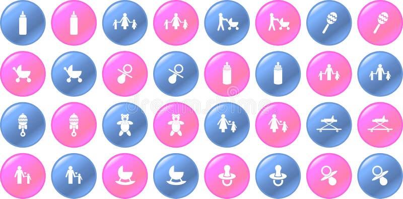 dziecka błękit guzika rzeczy różowy setu wektor ilustracji