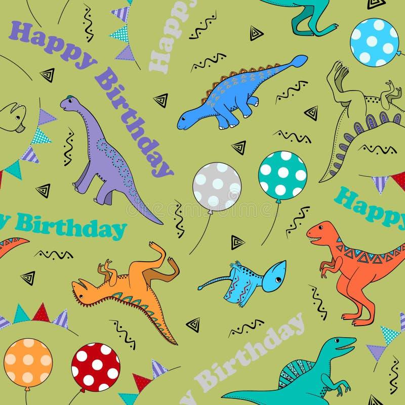 Dziecka bezszwowy tło z stylizowanymi dinosaurami royalty ilustracja
