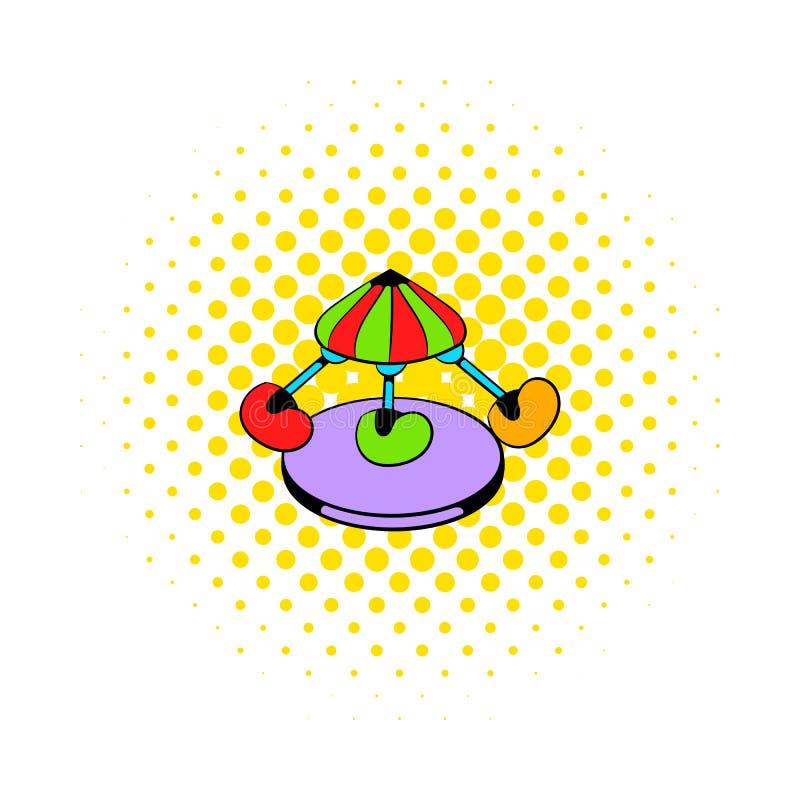 Dziecka carousel ikona, komiczka styl royalty ilustracja