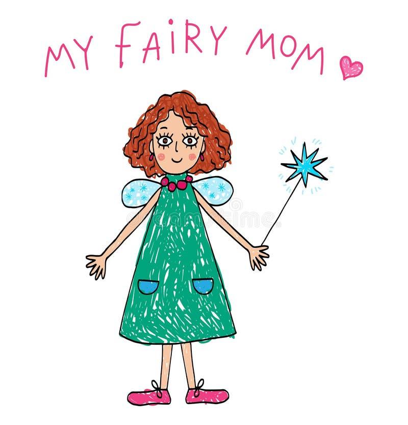 dziecka daugther rysunkowego rodzinnego ojca dziadek babci dzieciaki matkują syna Mój Czarodziejska mama royalty ilustracja