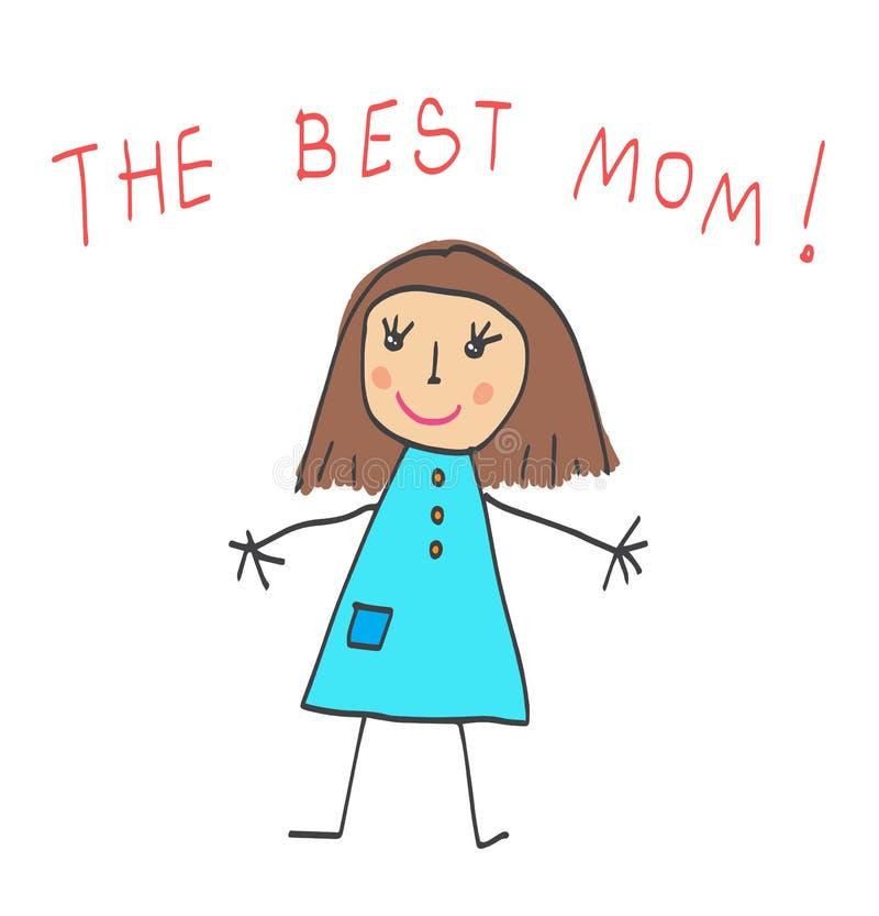 dziecka daugther rysunkowego rodzinnego ojca dziadek babci dzieciaki matkują syna Macierzysty ` s dzień najlepsza mama ilustracji