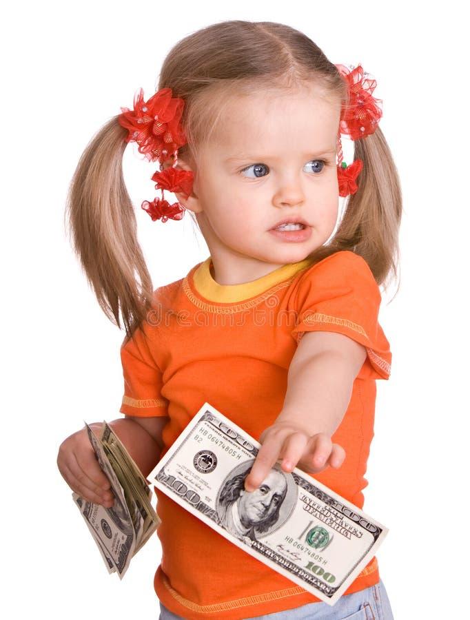 dziecka dolarowy dziewczyny ręki pieniądze zdjęcie royalty free