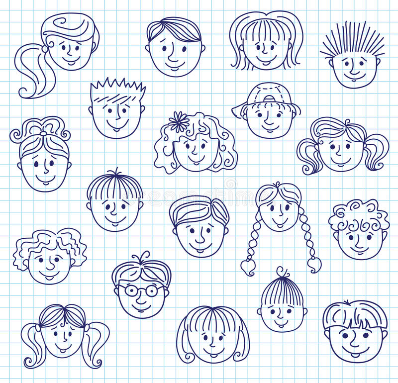 Dziecka doodle twarze royalty ilustracja