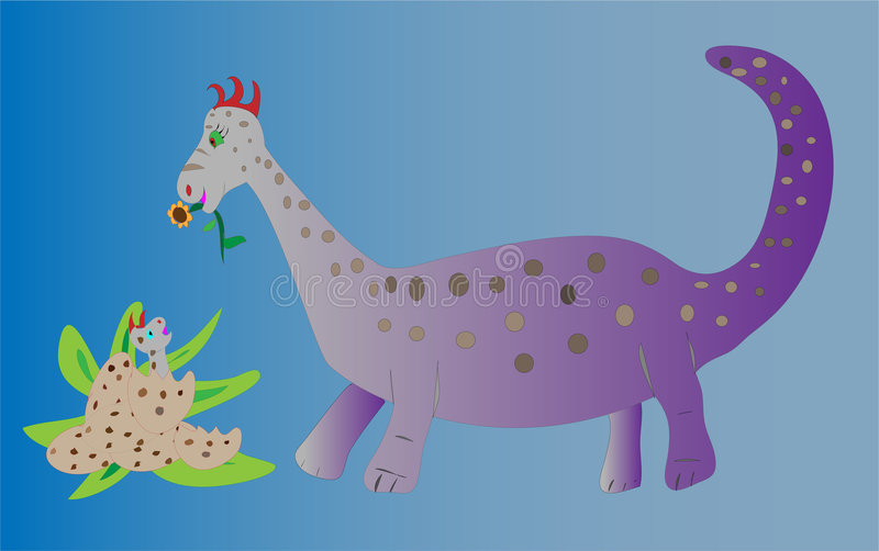 dziecka dowiezienia dinosaura kwiat royalty ilustracja