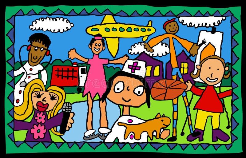 Dziecka Drawing- kariery wybory royalty ilustracja