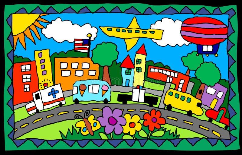 Dziecka drawing- ruchliwie miasteczko ilustracja wektor