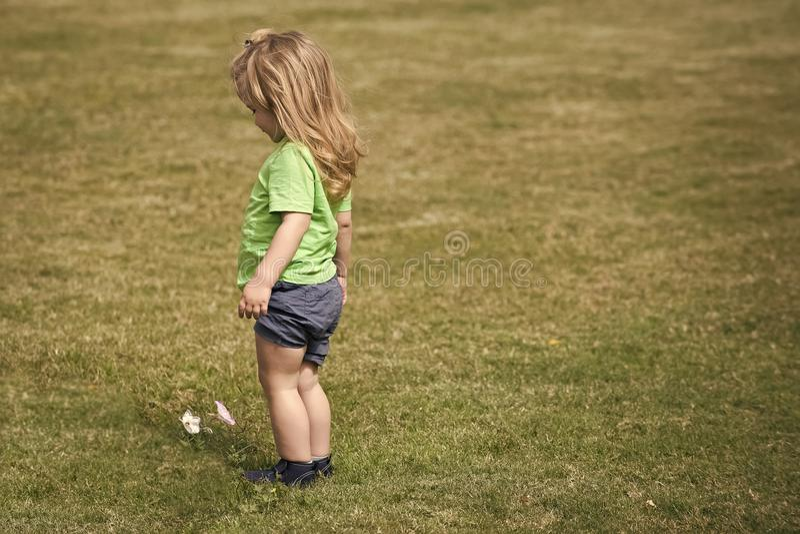 Dziecka dzieciństwa dzieci szczęścia pojęcie Mała chłopiec patrzeje białego kwiatu z długim blondynem zdjęcia stock