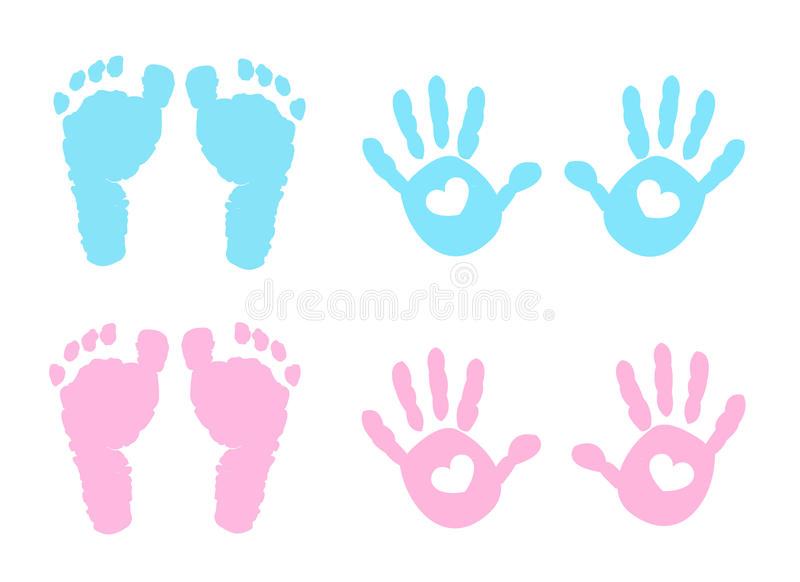 Dziecka handprint i odcisk stopy ilustracja ilustracji