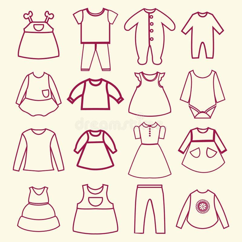 Dziecka i dzieci konturu odzieżowe inkasowe ikony ilustracji