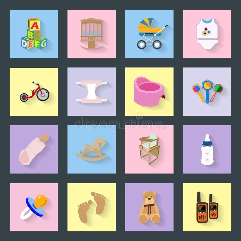 Dziecka i dzieciaków płaskie ikony ustawiać ilustracji