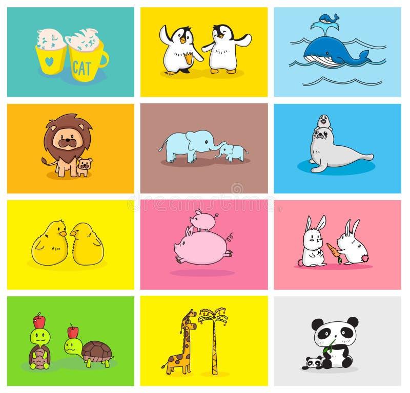 Dziecka i mamuś zwierzęcia set ilustracji
