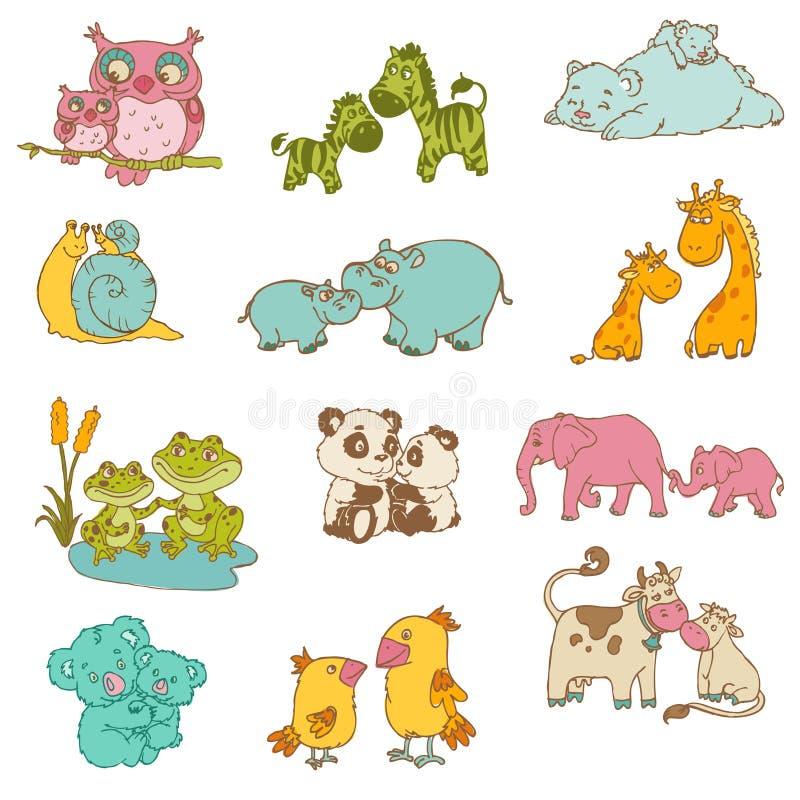 Dziecka i mamuś zwierzęta ilustracja wektor