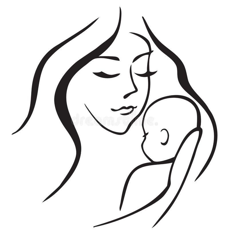 Dziecka i matki kontur ilustracji