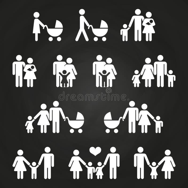 Dziecka i rodziców konturu ikon projekt - biali rodzinni piktogramy royalty ilustracja