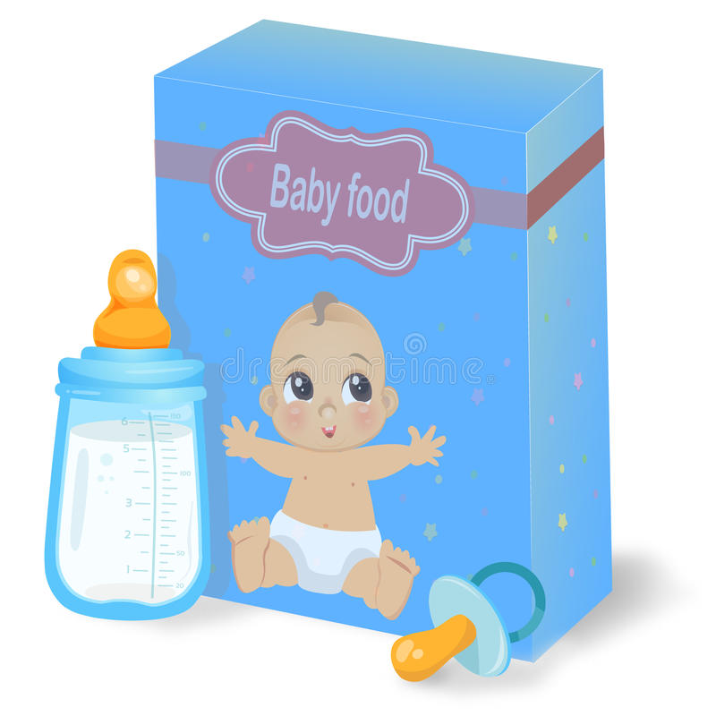 Dziecka jedzenia juczna i dojna butelka royalty ilustracja