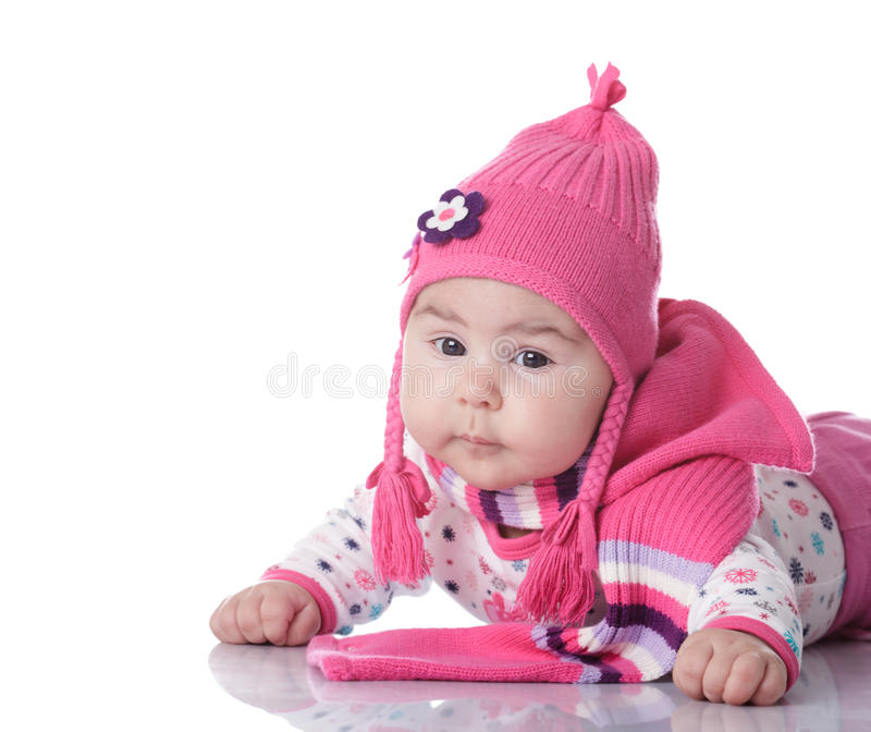 dziecka kapeluszu pigtails zdjęcia royalty free