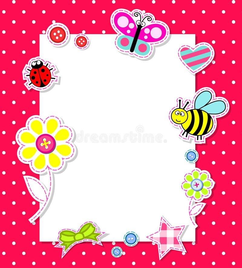 dziecka karciany elementów dziewczyny scrapbook wektor ilustracja wektor
