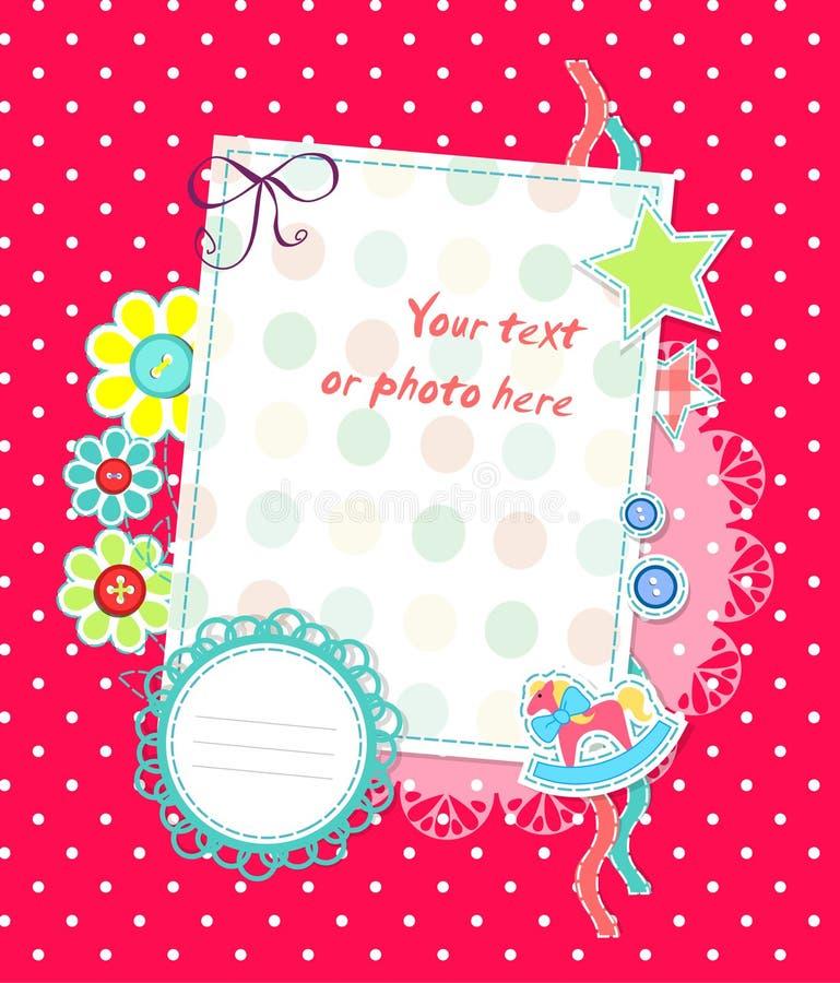 dziecka karcianych kropek różowy scrapbooking wektor ilustracja wektor