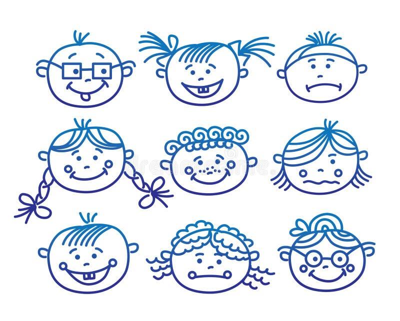 dziecka kreskówki twarze royalty ilustracja