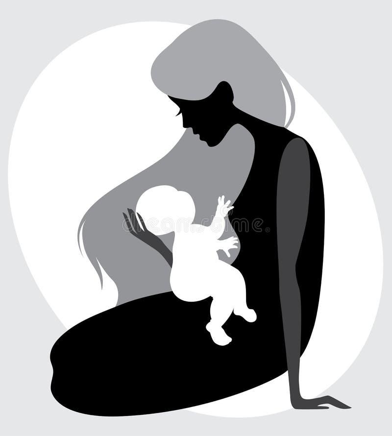 dziecka matki sylwetka royalty ilustracja
