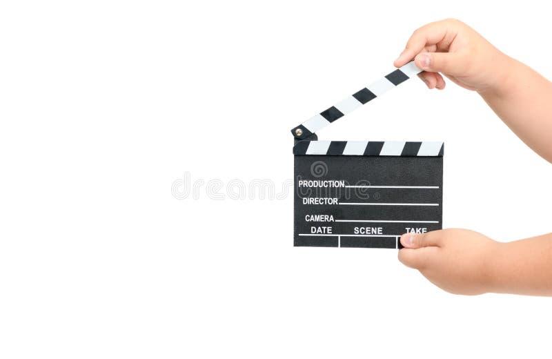 Dziecka mienia filmu clapper odizolowywający na bielu zdjęcia stock