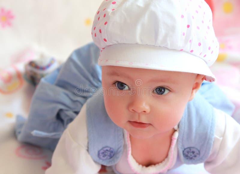 dziecka nakrętki zbliżenia portret fotografia stock