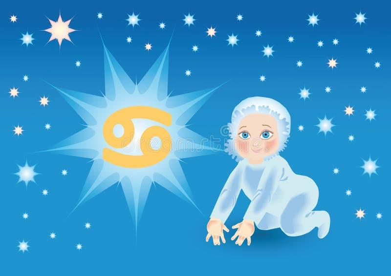 dziecka niedźwiadkowy nowotworu znak pod zodiakiem ilustracji