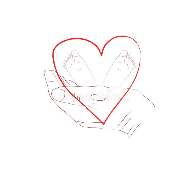 dziecka nożna ręk matka ilustracja wektor