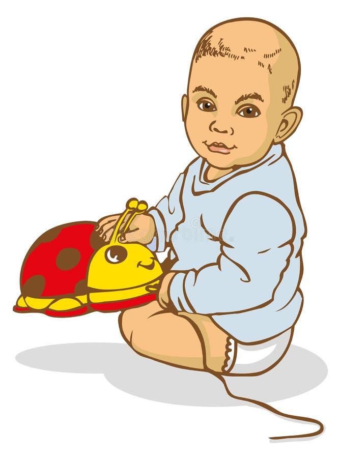 Dziecka obsiadanie z zabawką ilustracji