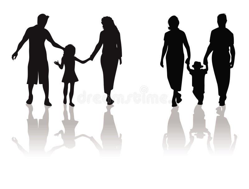dziecka ojca matki sylwetka ilustracji