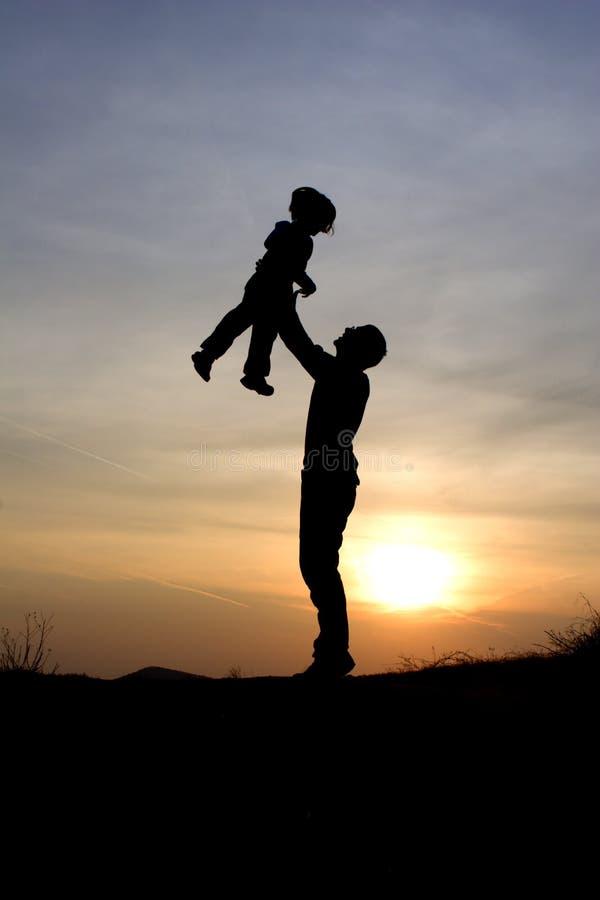 dziecka ojca miłości zmierzch obrazy royalty free