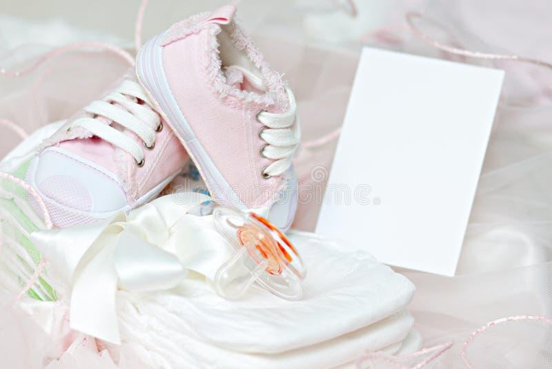 dziecka pieluszek ramowi pacyfikatoru fotografii buty obraz stock